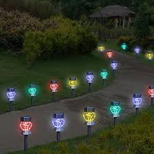 color changing outdoor lights 4 pack stainless steel color changing solar pathway led accent