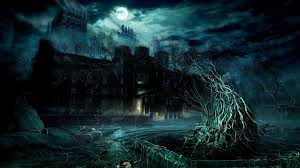 halloween haunted house background images dark mansion under the full moon digital art hd wallpaper x