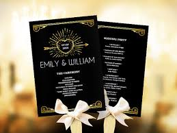 gold wedding programs wedding program fan template black and gold great gatsby