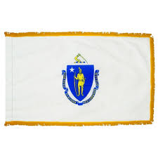 Flag Of Massachusetts Indoor And Parade Colonial Nyl Glo Massachusetts Flag With Fringe