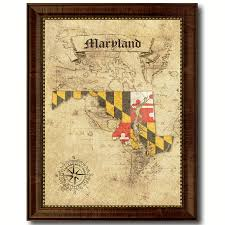 maryland state vintage flag gifts home decor wall art canvas print maryland state vintage flag gifts home decor wall art canvas print with custom picture frame in