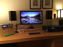 Studio Monitor Desk Stands by Mac Setup Arm Mounted 27 U2033 Imac With A Beautifully Tidy Desk
