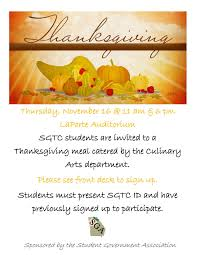 sgtc s student government association set to host thanksgiving