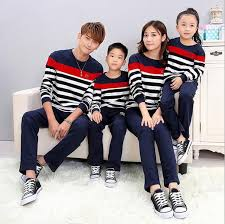 2017 family matching clothes with stripes and letter family