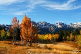 fall colors mountain meadow blue sky clouds