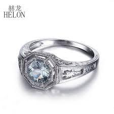 helon 6mm round natural aquamarine ring art deco 925 sterling