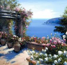 sarto tag wallpapers garden gate flowers painting nature lucia