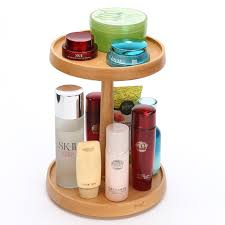 wooden cosmetic storage rack desktop rotating dresser makeup