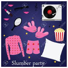 slumber party invitation symbols elements sleepover pajama