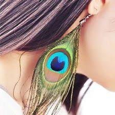 mr t feather earrings drop dangle feather unbranded clip on costume earrings ebay