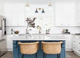 white kitchen cabinets with blue island 22 contrasting kitchen island ideas for a stand out space