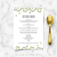 editable menu template fall wedding menu template editable menu cards in the attic