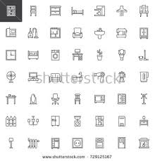 home interiors collection furniture line icons set home interior stock vector 496915459