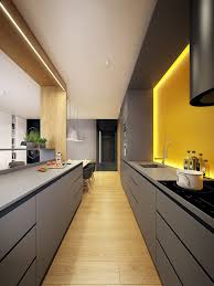 Modern Apartment Design Cuisine Design Jaune Et Grise Eclairage Indirect U2026 Pinteres U2026