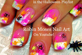 diy easy halloween nail art neon spiders nails design tutorial