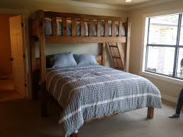 perpendicular twin over queen rustic barnwood bunk beds