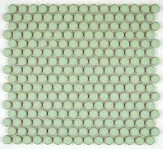 vogue tile penny round vintage green glossy porcelain mosaic for