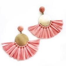 raffia fans coral raffia fan earrings emilymccarthy