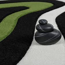 Wohnzimmer Schwarz Grun Designer Teppich Modern Kurzflor Wellen Muster In Grün Schwarz