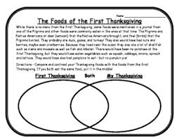 thanksgiving reading passage venn diagram thanksgiving