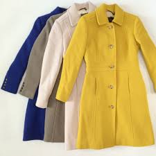 j crew lady day coat in warm chartreuse and ann taylor stripe