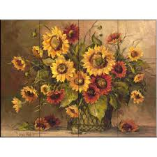 sunflower bouquet the tile mural store sunflower bouquet 17 in x 12 3 4 in ceramic