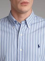 light blue striped polo dress lyst polo ralph lauren short sleeved striped shirt in blue for men