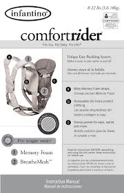 infantino baby carrier comfort rider user guide manualsonline com