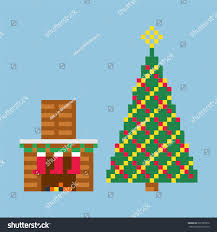 christmas style eightbit gamegifts christmas tree stock vector