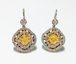 diamond earrings sale 2 43ct fancy yellow diamond earrings 18k canary all
