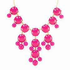 pink chain necklace images Pink bubble necklace gold chain bib necklace with dangling beads jpg