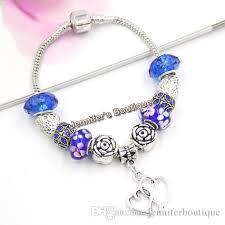 s day charm bracelet s day gift jewelry diy navy blue flower lwork murano