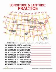 latitude and longitude fourth grade geography and worksheets