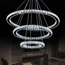 Diamond Chandeliers Modern Diamond Ring Led K9 Crystal Chandelier Light Fixture For