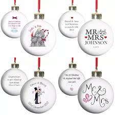 St Christmas Ornament Wedding - personalised tree baubles 1st christmas married winter wedding