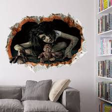 black scary ghost 3d broken wall sticker for bedroom rosegal com halloween zombie 3d broken wall sticker for living room