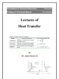 heat transfer lectures 1 conduction heat transfer thermal