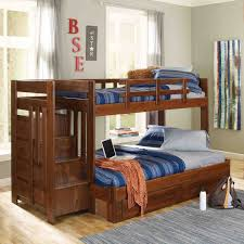 bunk bed with stairs and drawers rustic pine wood stairway full