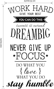 work hard motivation wall decals office room decor never give work hard motivation wall decals office room decor never give dream big inspirational quote stickers