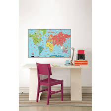 wallpops kids world map wall decal wpe0624 the home depot wallpops kids world map wall decal