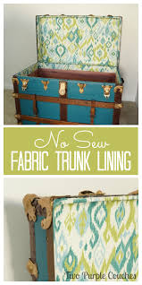 Diy Sofa Slipcover No Sew by No Sew Fabric Lining For A Vintage Trunk Purple Couch Vintage