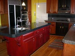 kitchen red painting kitchen island black marmer countertop