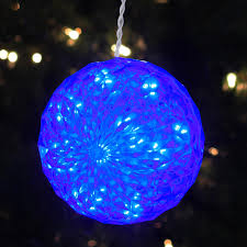 blue led lighted hanging sphere outdoor