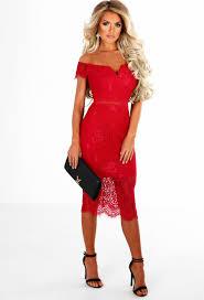 secret desire red lace bardot midi dress pink boutique