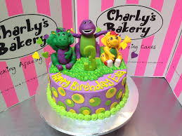 barney cake toppers on birthday cake with polka dots flickr