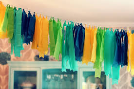 tissue paper streamers how great would this be a beverage station at a bridal or