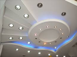 creative false ceiling lights in gypsum board design for small