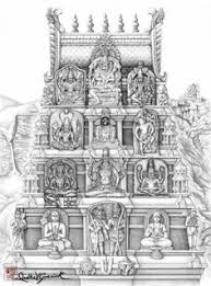illustration of a temple with ancient hindu architectural