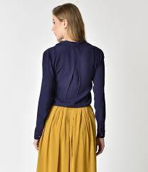 navy blue blouse retro style navy blue button up sleeve tie blouse unique