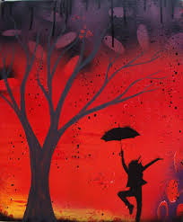 modern abstract tree painting silhouette dancing by empwrdesigns